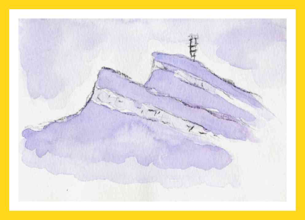 Watercolour purple mountain:  Available 50€