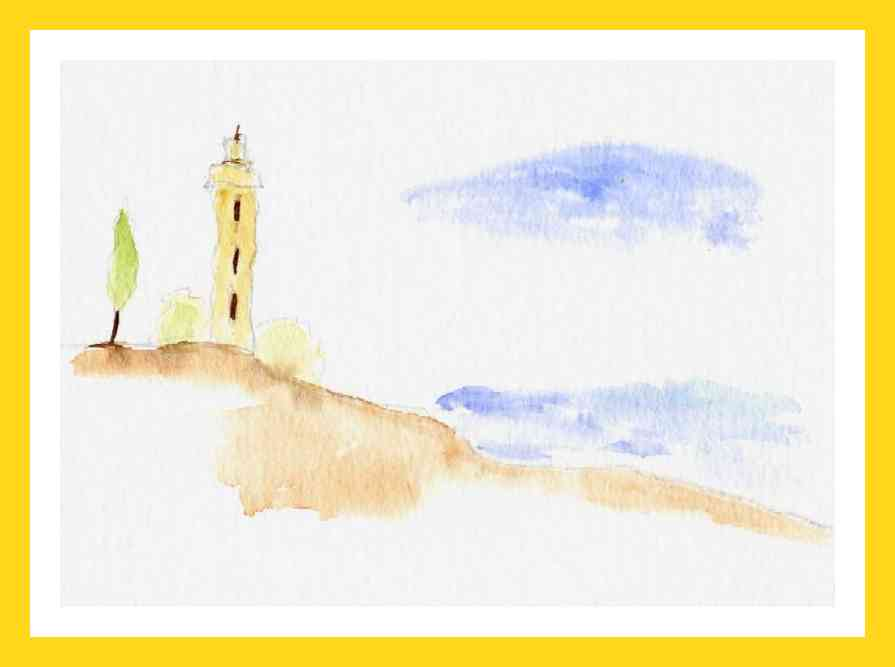Watercolour lighthouse II  12x18 cm Available 50 €
