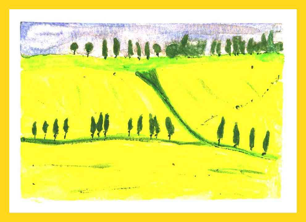 Watercolour Tuscany field 10x13 cm.Available 50 €