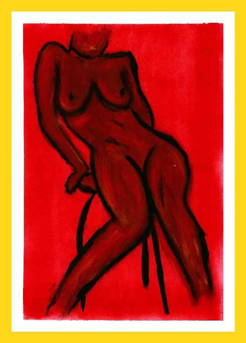 Nude : red seated woman 21x29 cm Available 150€